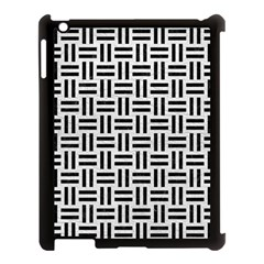 Woven1 Black Marble & White Leather Apple Ipad 3/4 Case (black)