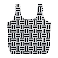 Woven1 Black Marble & White Leather Full Print Recycle Bags (l)