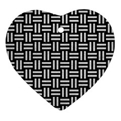 Woven1 Black Marble & White Leather (r) Ornament (heart)
