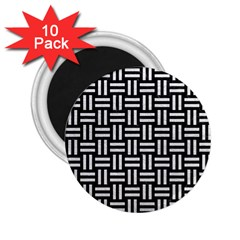 Woven1 Black Marble & White Leather (r) 2 25  Magnets (10 Pack)