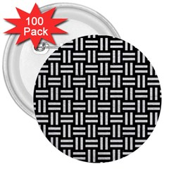 Woven1 Black Marble & White Leather (r) 3  Buttons (100 Pack)