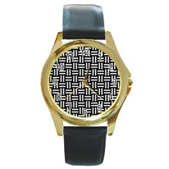 Woven1 Black Marble & White Leather (r) Round Gold Metal Watch
