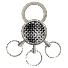 Woven1 Black Marble & White Leather (r) 3 Ring Key Chains