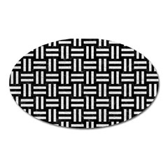 Woven1 Black Marble & White Leather (r) Oval Magnet