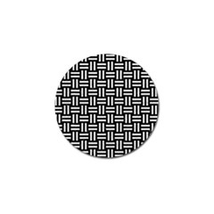 Woven1 Black Marble & White Leather (r) Golf Ball Marker