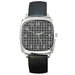 Woven1 Black Marble & White Leather (r) Square Metal Watch