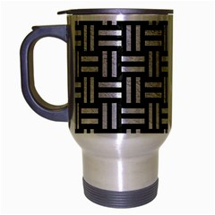 Woven1 Black Marble & White Leather (r) Travel Mug (silver Gray)