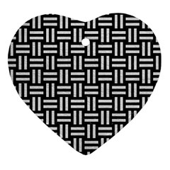 Woven1 Black Marble & White Leather (r) Heart Ornament (two Sides)
