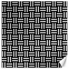 Woven1 Black Marble & White Leather (r) Canvas 16  X 16
