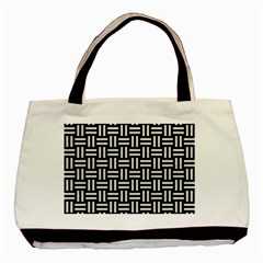 Woven1 Black Marble & White Leather (r) Basic Tote Bag (two Sides)