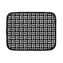Woven1 Black Marble & White Leather (r) Netbook Case (small)