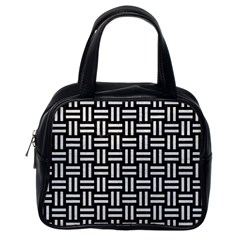 Woven1 Black Marble & White Leather (r) Classic Handbags (one Side)