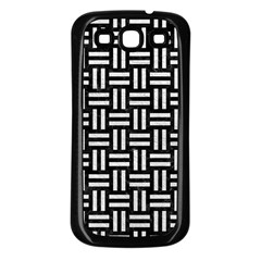Woven1 Black Marble & White Leather (r) Samsung Galaxy S3 Back Case (black)