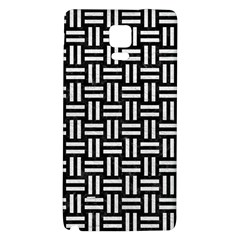 Woven1 Black Marble & White Leather (r) Galaxy Note 4 Back Case