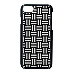 Woven1 Black Marble & White Leather (r) Apple Iphone 8 Seamless Case (black)