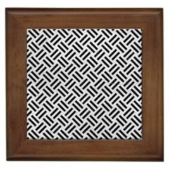 Woven2 Black Marble & White Leather Framed Tiles
