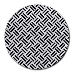 Woven2 Black Marble & White Leather Round Mousepads