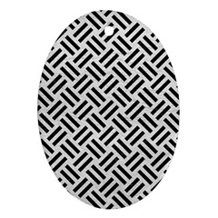 Woven2 Black Marble & White Leather Ornament (oval)