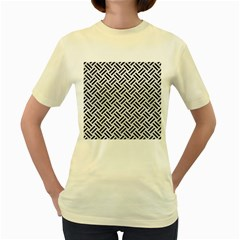 Woven2 Black Marble & White Leather Women s Yellow T Shirt