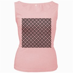 Woven2 Black Marble & White Leather Women s Pink Tank Top