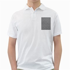Woven2 Black Marble & White Leather Golf Shirts