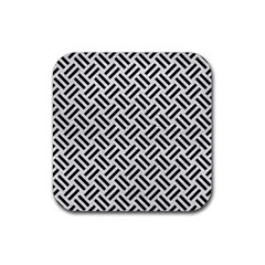 Woven2 Black Marble & White Leather Rubber Square Coaster (4 Pack)