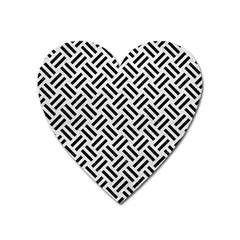 Woven2 Black Marble & White Leather Heart Magnet