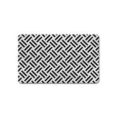 Woven2 Black Marble & White Leather Magnet (name Card)
