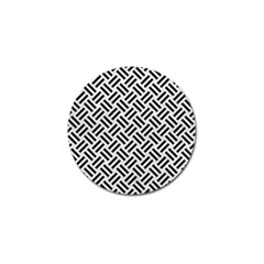 Woven2 Black Marble & White Leather Golf Ball Marker (4 Pack)