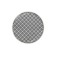 Woven2 Black Marble & White Leather Hat Clip Ball Marker