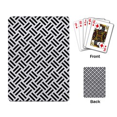 Woven2 Black Marble & White Leather Playing Card