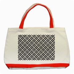 Woven2 Black Marble & White Leather Classic Tote Bag (red)