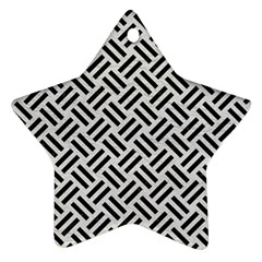 Woven2 Black Marble & White Leather Star Ornament (two Sides)