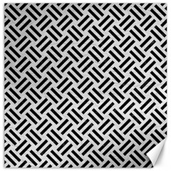 Woven2 Black Marble & White Leather Canvas 16  X 16