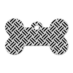 Woven2 Black Marble & White Leather Dog Tag Bone (one Side)