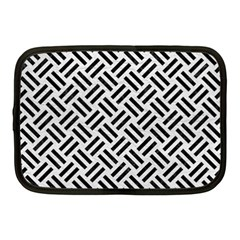 Woven2 Black Marble & White Leather Netbook Case (medium)