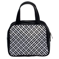 Woven2 Black Marble & White Leather Classic Handbags (2 Sides)