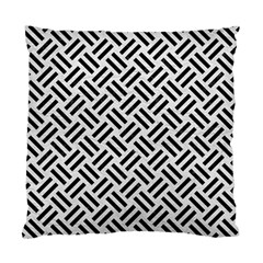 Woven2 Black Marble & White Leather Standard Cushion Case (two Sides)