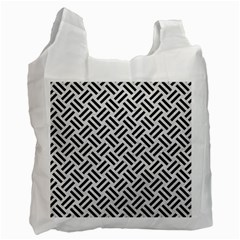 Woven2 Black Marble & White Leather Recycle Bag (one Side)