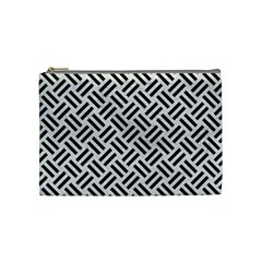 Woven2 Black Marble & White Leather Cosmetic Bag (medium)