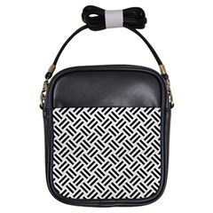 Woven2 Black Marble & White Leather Girls Sling Bags
