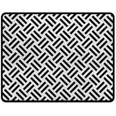 Woven2 Black Marble & White Leather Fleece Blanket (medium)
