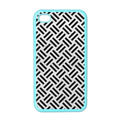 Woven2 Black Marble & White Leather Apple Iphone 4 Case (color)