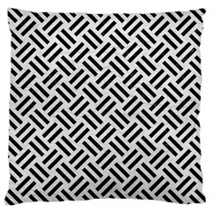 Woven2 Black Marble & White Leather Large Cushion Case (one Side)