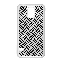 Woven2 Black Marble & White Leather Samsung Galaxy S5 Case (white)