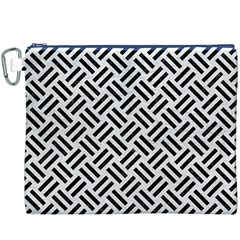 Woven2 Black Marble & White Leather Canvas Cosmetic Bag (xxxl)