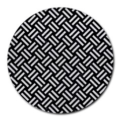 Woven2 Black Marble & White Leather (r) Round Mousepads