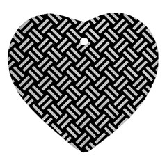 Woven2 Black Marble & White Leather (r) Ornament (heart)