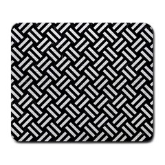 Woven2 Black Marble & White Leather (r) Large Mousepads
