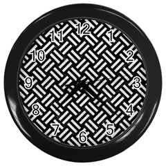 Woven2 Black Marble & White Leather (r) Wall Clocks (black)